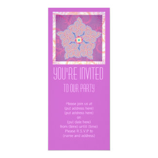 Purple Star Fractal Pattern Party Invitation