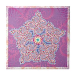Purple Star Fractal Pattern Tile