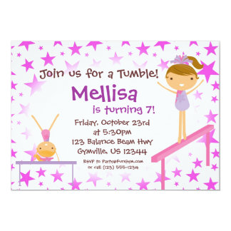 Purple Star Gymnast Birthday Party Invitation