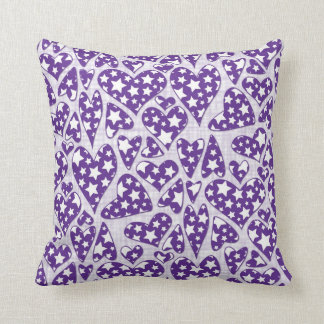 Purple Star Hearts Throw Pillow