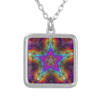 Purple STAR Mandala Silver Plated Necklace