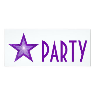 Purple Star 'PARTY' invitation white long