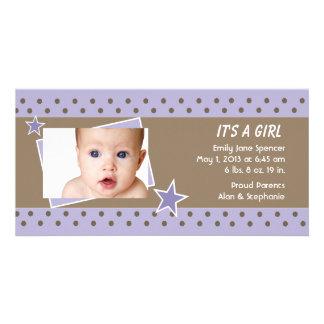 Purple Star Photo Birth Announcement Custom Photo Card