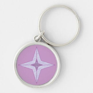 Purple Star Silver-Colored Round Key Ring