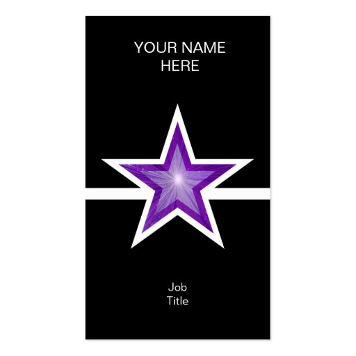 Purple Star white line black vertical Business Card