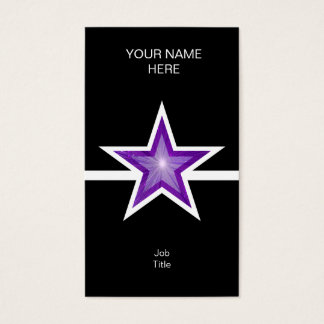 Purple Star white line black vertical Business Card