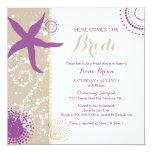 Purple Starfish Beach Bridal Shower 13 Cm X 13 Cm Square Invitation Card