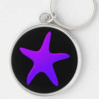 Purple Starfish Silver-Colored Round Key Ring