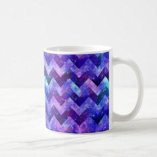 Purple Starry Galaxy Watercolor Chevron Basic White Mug
