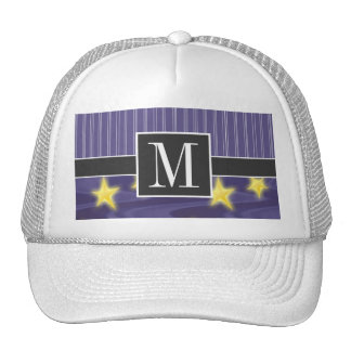 Purple Starry Night Yellow Stars Mesh Hat