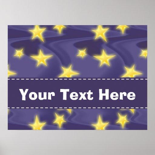 Purple Starry Night; Yellow Stars Pattern Posters