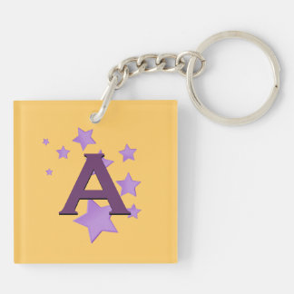 Purple Stars and Monogram Custom Gift Item Double-Sided Square Acrylic Key Ring