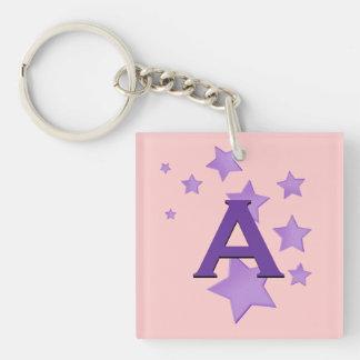Purple Stars and Monogram Custom Gift Item Double-Sided Square Acrylic Keychain