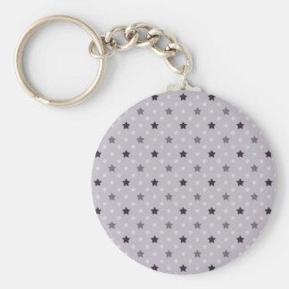 Purple Stars Basic Round Button Key Ring