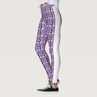 Purple stars cheerleader design pattern leggings