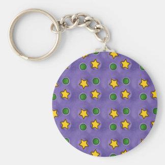 Purple Stars & Dots Keychain