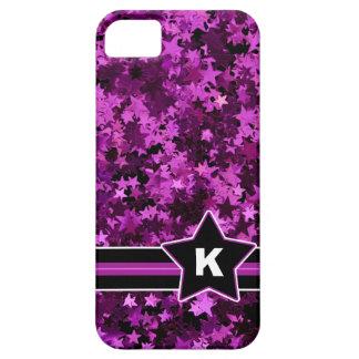 Purple Stars Glitter Photo Print Custom Monogram iPhone 5 Cases