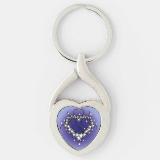 Purple Stars Heart Keychain