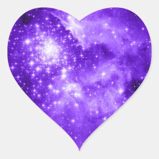 Purple Stars Heart Sticker