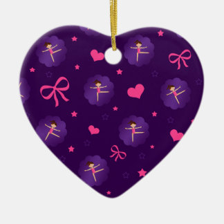 Purple stars hearts bows purple scallop gymnast ceramic heart decoration