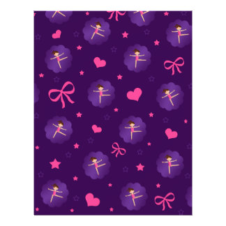 Purple stars hearts bows purple scallop gymnast personalized flyer