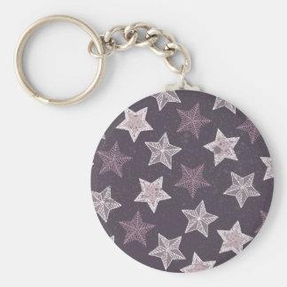 Purple Stars Pattern Basic Round Button Key Ring