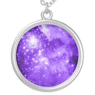 Purple Stars Silver Plated Necklace