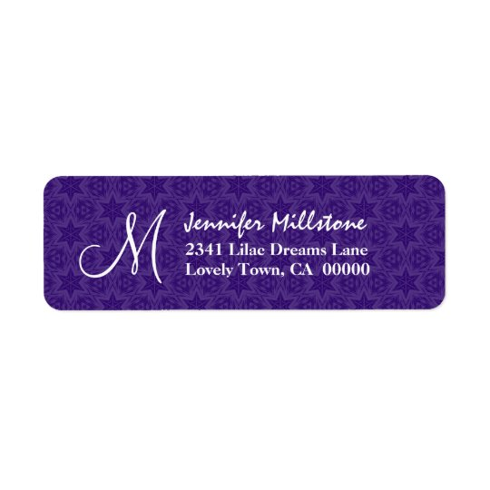 Purple Stars Wedding Monogram Address Label
