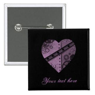 Purple steampunk gears heart 15 cm square badge