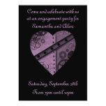 Purple steampunk gears heart engagement party