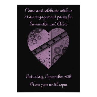 Purple steampunk gears heart engagement party 13 cm x 18 cm invitation card