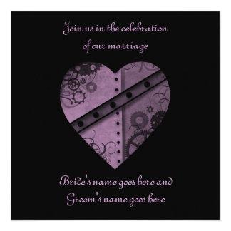 "Purple steampunk gears heart wedding 5.5"" x 5.5"" 13 cm x 13 cm square invitation card"