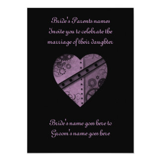 "Purple steampunk gears heart wedding 5.5"" x 7.5"" 14 cm x 19 cm invitation card"
