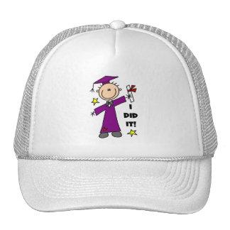 Purple Stick Figure Boy Graduate Hat