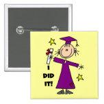Purple Stick Figure Girl Graduate 15 Cm Square Badge