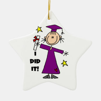 Purple Stick Figure Girl Graduate Christmas Ornament