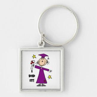 Purple Stick Figure Girl Graduate Key Chain