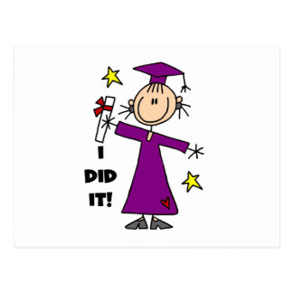 Purple Stick Figure Girl Graduate Postcard