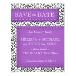 """Purple Stitched Damask Save the Date Announcements 4.25"""" X 5.5"""" Invitation Card"""