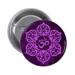 Purple Stone Floral Om 6 Cm Round Badge
