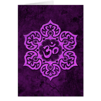 Purple Stone Floral Om Greeting Card