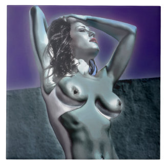Purple Storm Topless Nude Model Large Square Tile