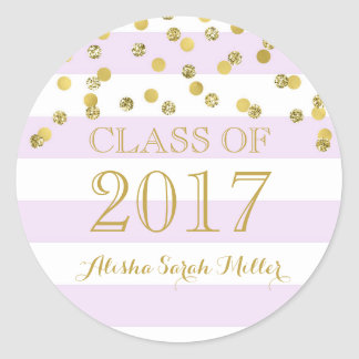 Purple Stripe Gold Confetti Graduation 2017 Round Sticker
