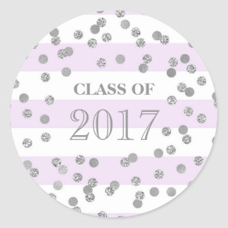 Purple Stripe Silver Confetti Grad Class 2017 Round Sticker