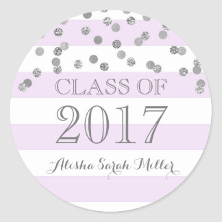 Purple Stripe Silver Confetti Graduation 2017 Round Sticker