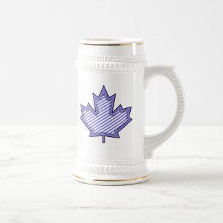 Purple Striped  Applique Stitched Maple Leaf Beer Stein