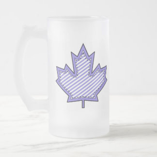 Purple Striped  Applique Stitched Maple Leaf Frosted Glass Mug