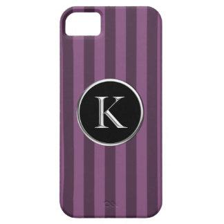 Purple Striped Black Silver Caslon K Monogram iPhone 5 Cover