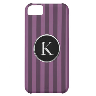 Purple Striped Black Silver Caslon K Monogram Cover For iPhone 5C