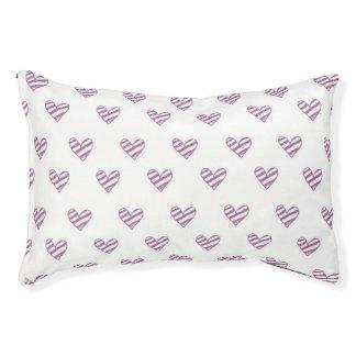 Purple Striped Hearts Pet Bed